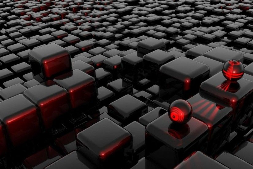 Abstract black red futuristic balls cubes 3d wallpaper