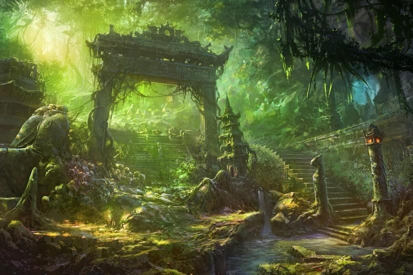 1920x1080 Wallpaper arch, staircase, forest, overgrown, debris