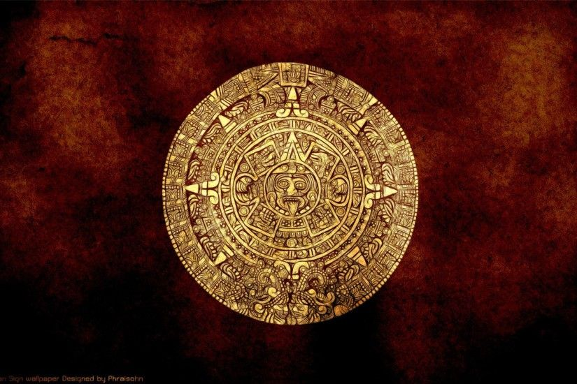 Artistic - Aztec Abstract Calendar Gold Wallpaper