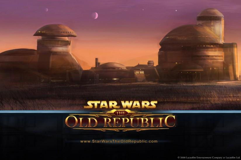 Preview wallpaper star wars the old republic, houses, sky, planets, sunset  3840x2160
