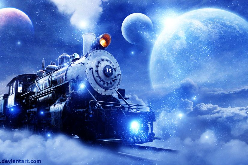 Vehicles - Train Space Sky Locomotive Engine Steam Wallpaper