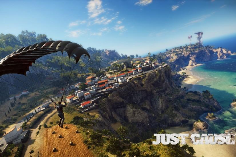 Rico Rodriguez parachuting over the coast - Just Cause 3 wallpaper  1920x1080 jpg