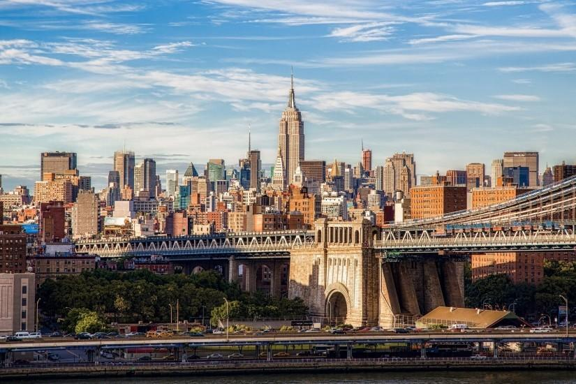 Bridge on the background of buildings in New York