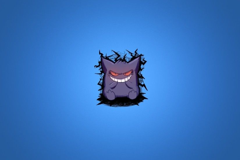 pokemon pokemon gengar blue background purple smile minimalism