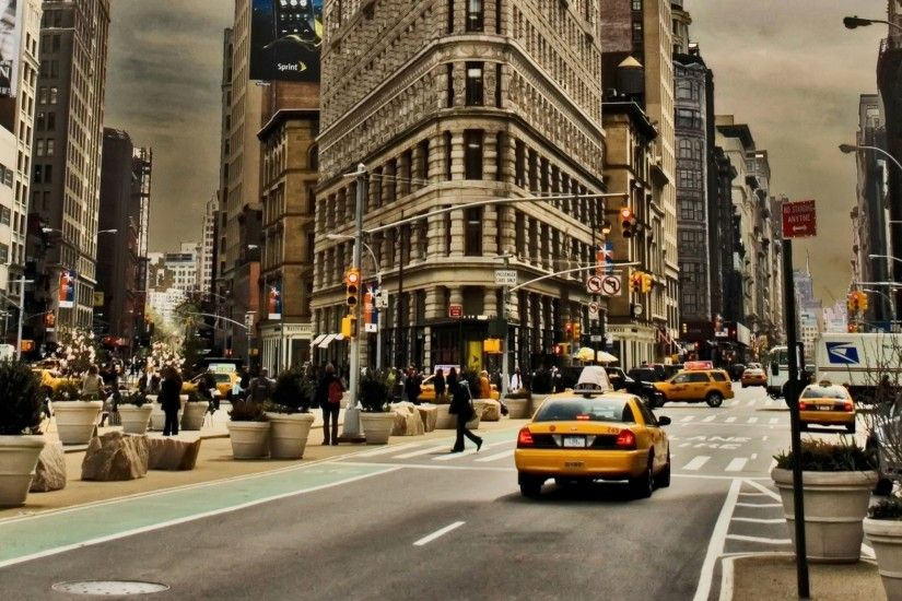 Preview wallpaper new york, city, building, street, cars, traffic 2048x1152