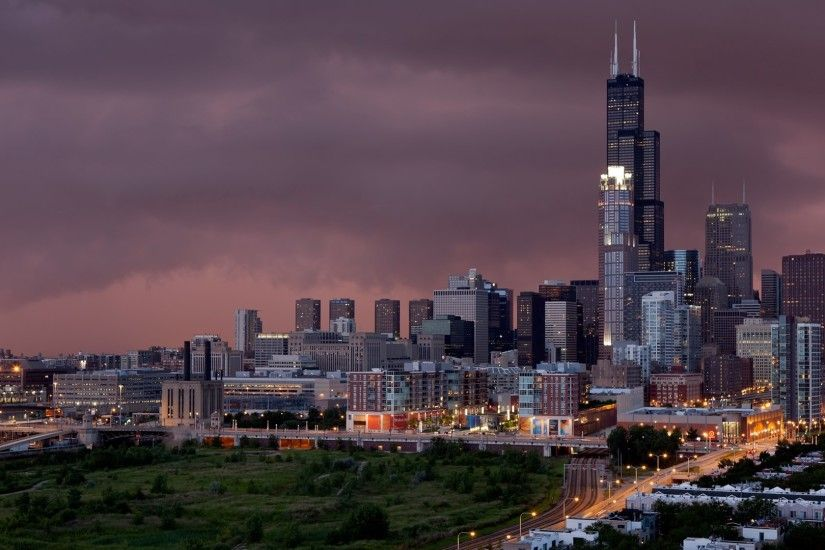 Chicago Skyline focused on Sears Tower @ dusk.