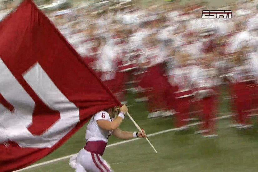 WATCH: Baker Mayfield plants OU flag in the middle of the Buckeye logo -  CBSSports.com