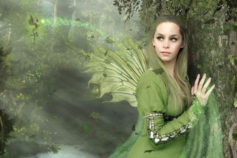Preview wallpaper fairy, girl, wings, wood, lake 1920x1080