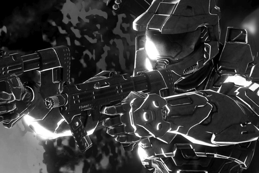Halo, Master Chief, Halo: Master Chief Collection, Xbox One, Video Games,  Artwork, Monochrome Wallpapers HD / Desktop and Mobile Backgrounds