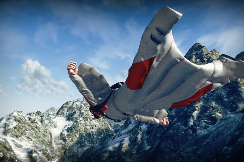 Wingsuit parachute flying fly flight extreme birdman diving .