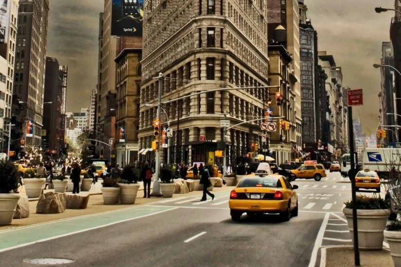 Preview wallpaper new york, city, building, street, cars, traffic 1920x1080