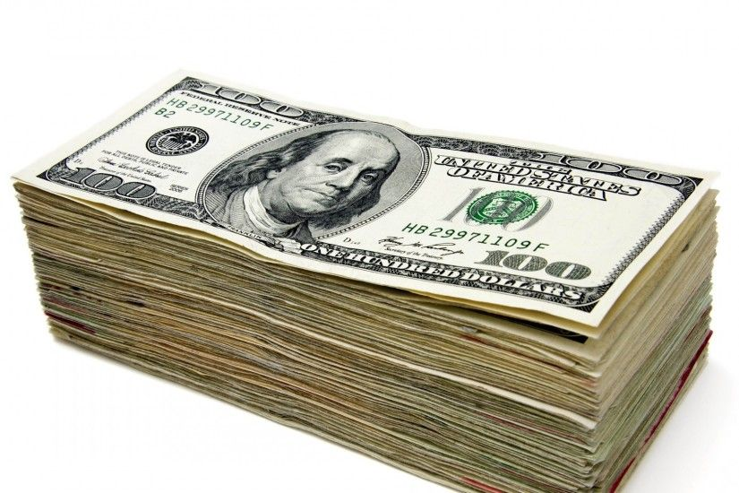 Preview wallpaper money, stack, dollar, white background 1920x1080