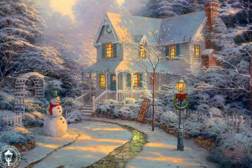 Xmas Stuff For > Thomas Kinkade Christmas Wallpaper