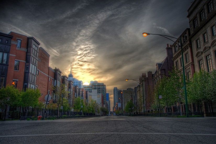 Road with a buildings and park background Photo | Free Download ...