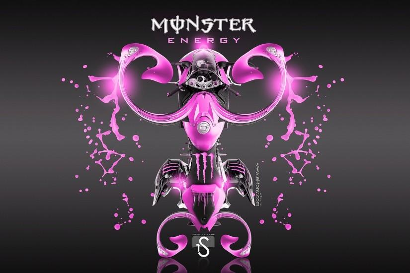 Pink Monster Logo Wallpaper Energy Kawasaki Ninja 1920x1080 · Pink ...