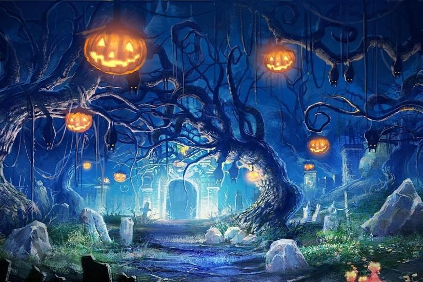 Preview wallpaper halloween, holiday, castle, gates, graves, bats, night,