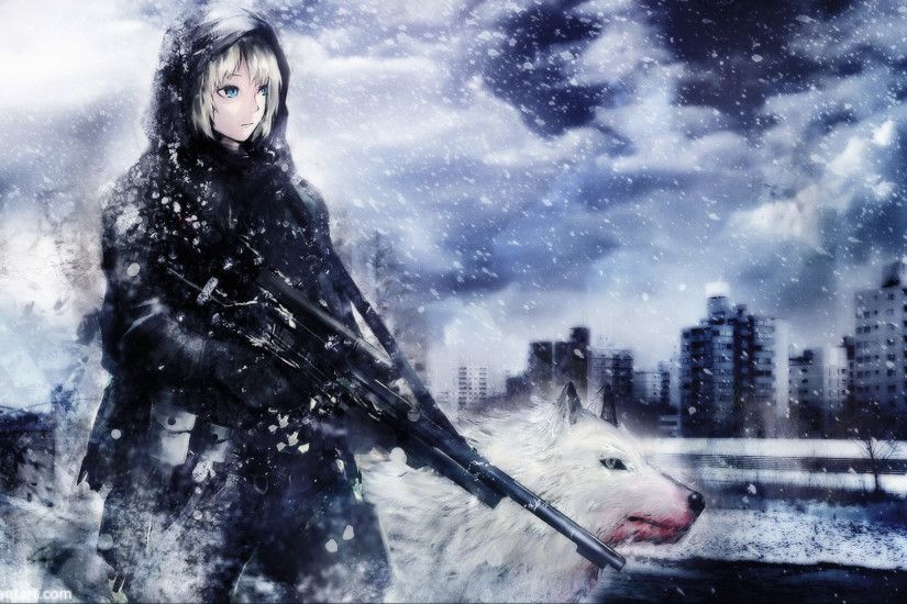 Soldier Girl & White Wolf wallpaper - ForWallpaper.com