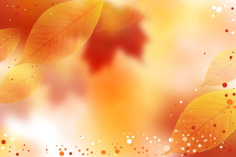 2500x1630 Fall colors on the background with Autumn leaves and white,  orange and red dots