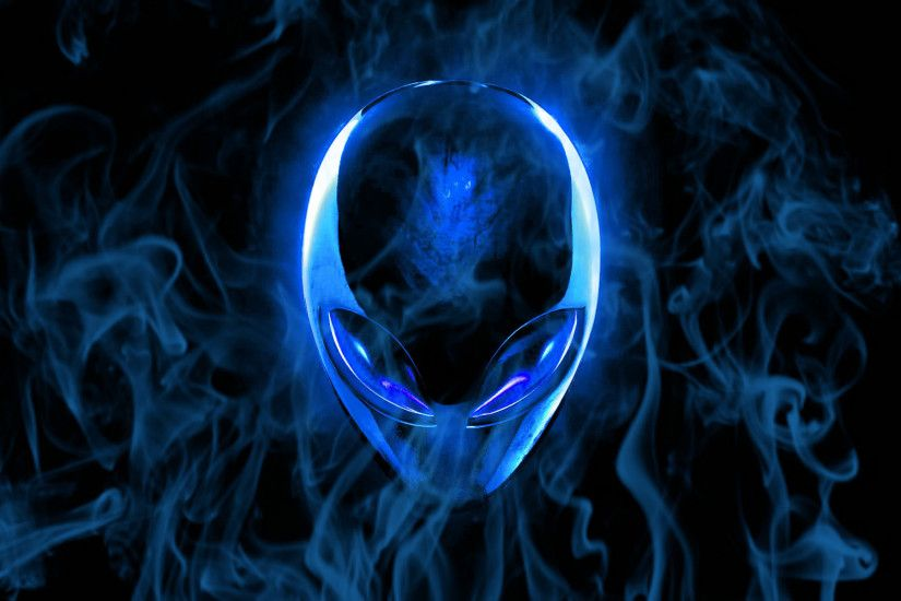 Alienware Desktop Background Blue Flaming Alienware Head 1920x1200