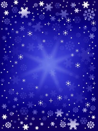 snow on blue christmas background