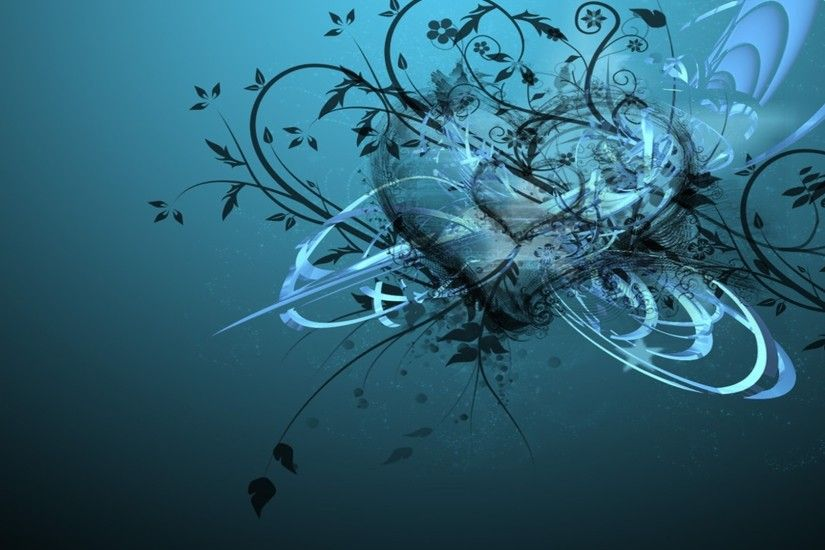 abstract blue design 3D Heart Wallpaper