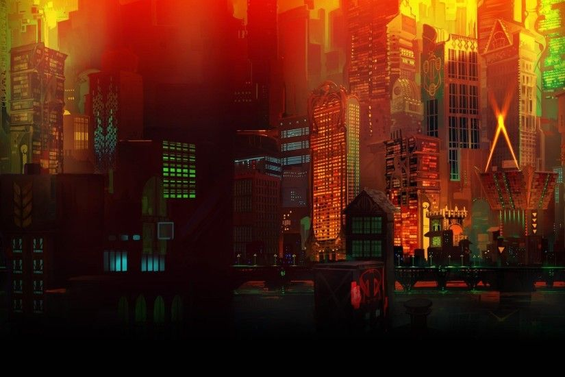digital Art, Colorful, Transistor, Building, Skyscraper, Lights, CGI, 3D,  Window, Video Games Wallpapers HD / Desktop and Mobile Backgrounds
