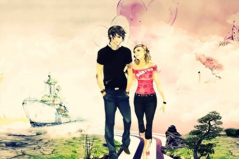 3d cute love couple wallpaper