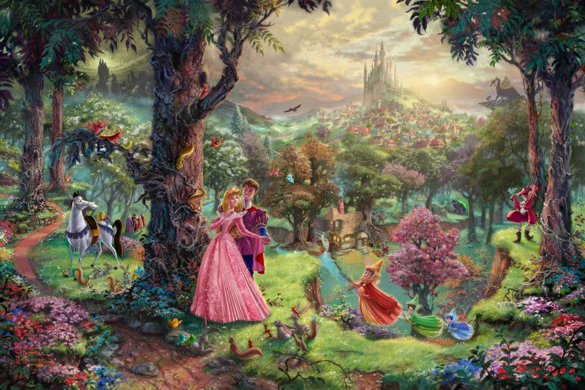 Kinkade Disney Sleeping Beauty (SN) Hand Highlighted Canvas- 28 x 22 Burl  Frame
