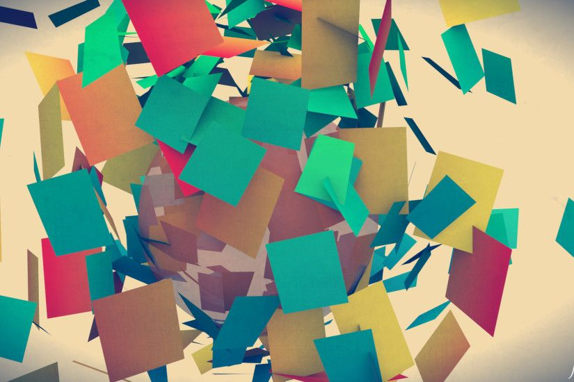 Colorful Abstract Square Paper Pieces HD Wallpaper