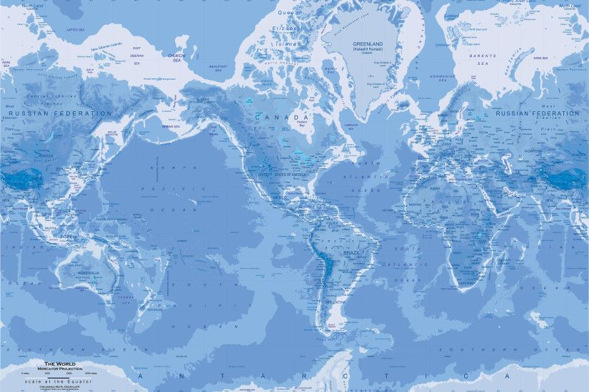 Blue World Map Wall Mural