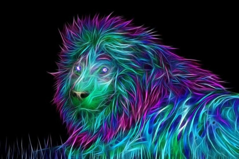 Download Wallpaper 1920x1080 Abstract, 3d, Art, Lion Full HD 1080p .