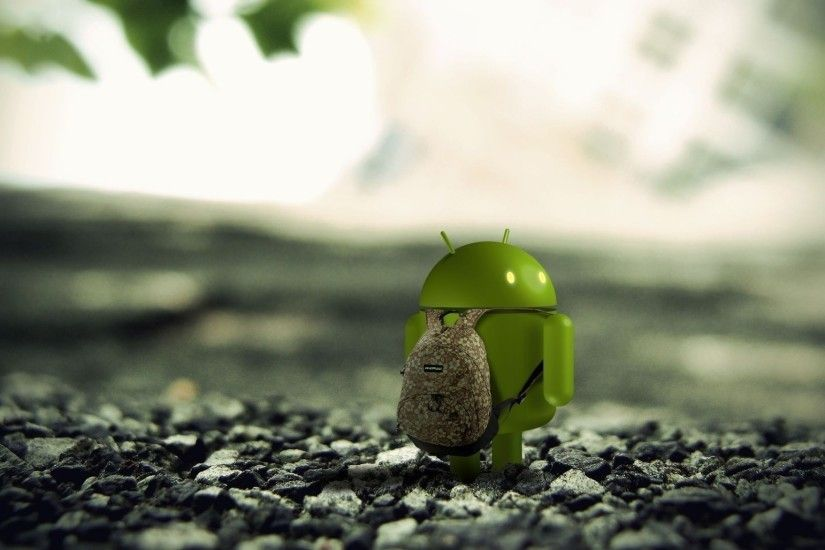 Preview wallpaper android, robot, backpack, stones 2048x1152