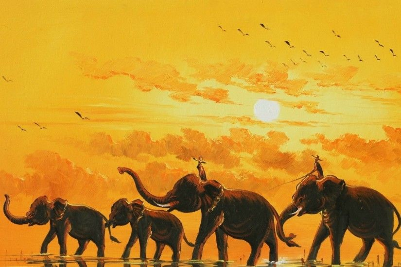 Wallpapers Backgrounds - Elephant Art Wallpaper Paintings 2
