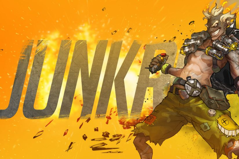 This wallpaper has tags of Junkrat, Overwatch, Video Game,