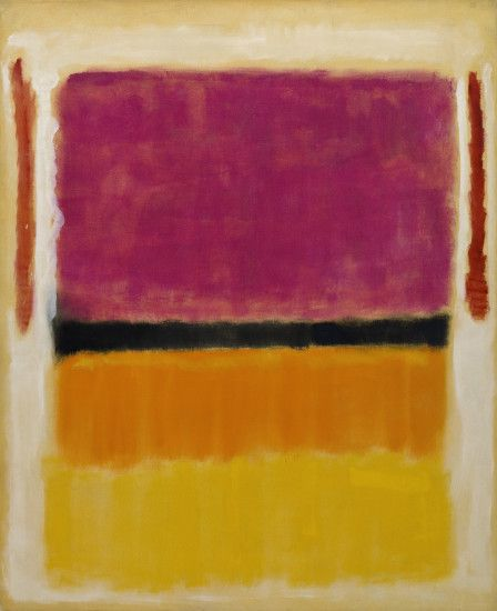 untitled violet black orange yellow on white and red by mark