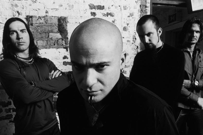 Preview wallpaper disturbed, band, members, bald, look 1920x1080