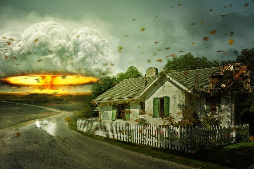 Sci Fi - Apocalyptic Sci Fi Mushroom Cloud Nuclear Explosion Bomb House  Wallpaper