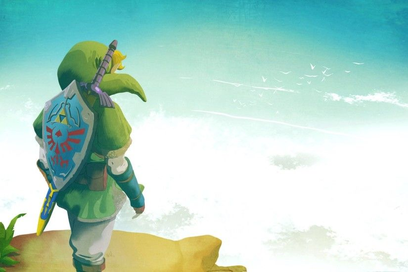 Preview wallpaper the legend of zelda, elf, shield, sky, link 1920x1080