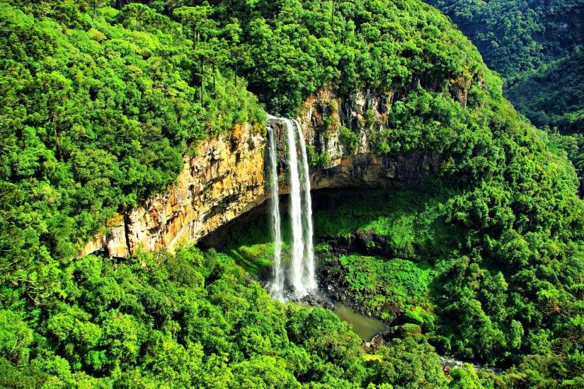 Brazil Green Waterfalls Desktop Background. Download 2560x1600 ...