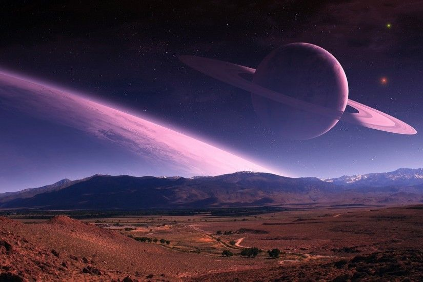 Planet Stars Mountains Field wallpapers and stock photos