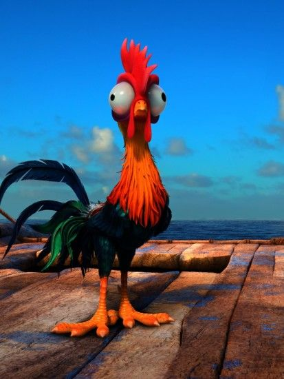 Moana, Heihei, Ocean, Clouds, Animation