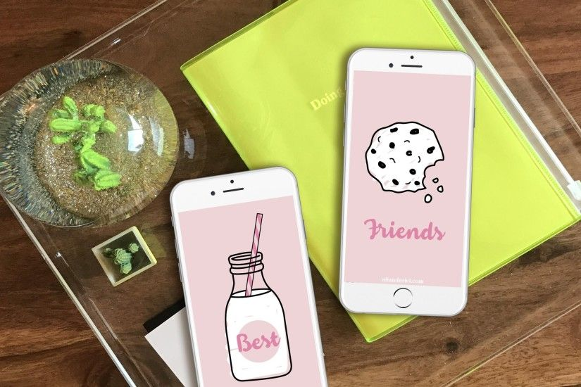 BFF Milk and Cookies FREE iPhone Wallpaper Download