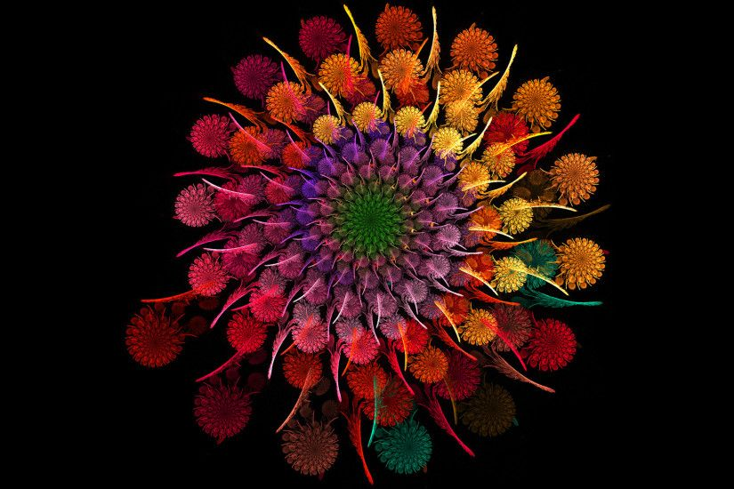 Wallpaper Rainbow, Flower, Spiral, Fractal
