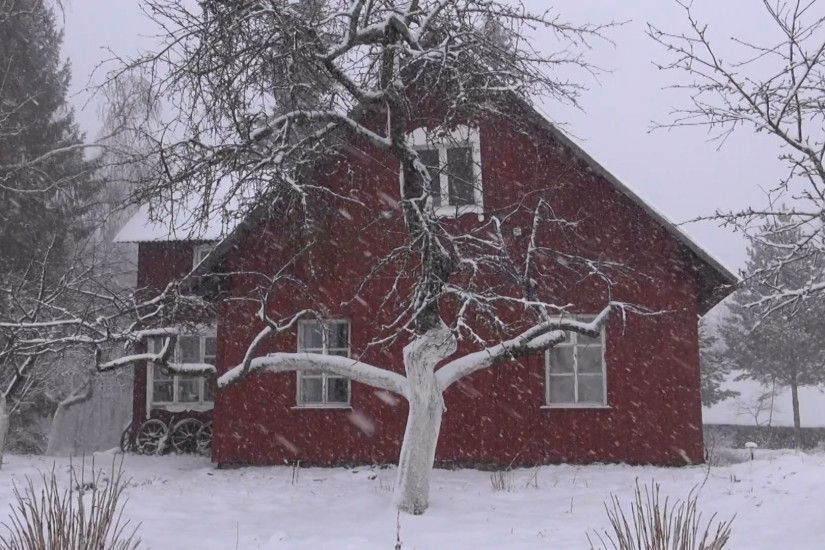 Subscription Library winter snow falling and farm house