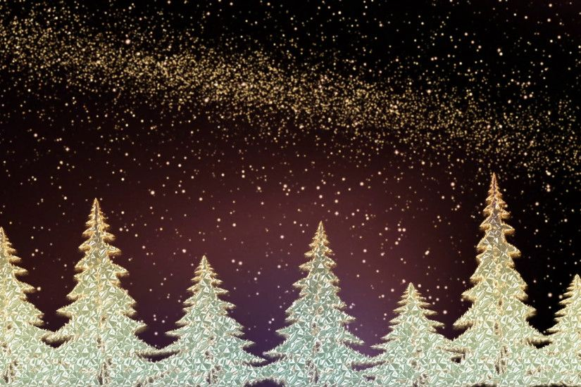 Sparkling Christmas trees shining in the snowy night, Christmas trees with  the stardust in the