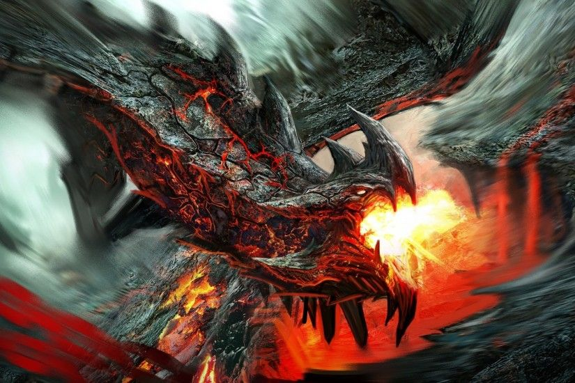 Preview wallpaper dragon, fire-breathing, flame, art 1920x1080