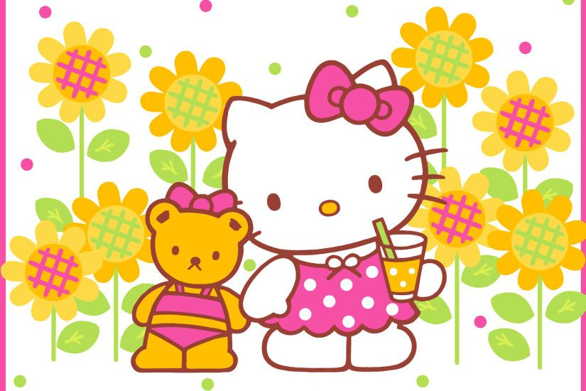 Anime - Hello Kitty Teddy Bear Flower Wallpaper