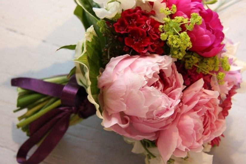 Preview wallpaper peony, freesia, flowers, bouquet 1920x1080