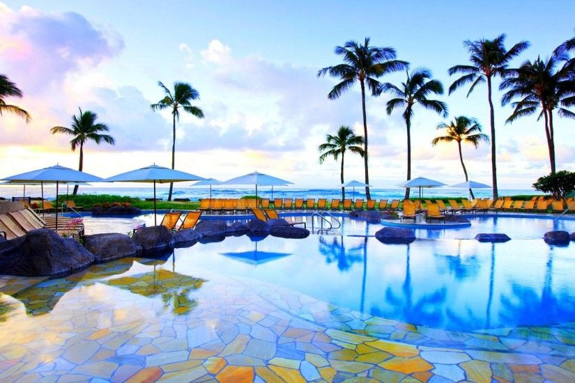 Beautiful Resort Pool In Kauai Hawaii HD Desktop Background wallpaper free