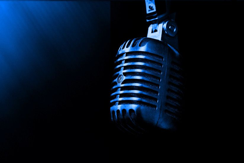 Blue Metal Professional Microphone Desktop Wallpaper